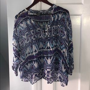 Patterned Henley Style Ruched Button Top